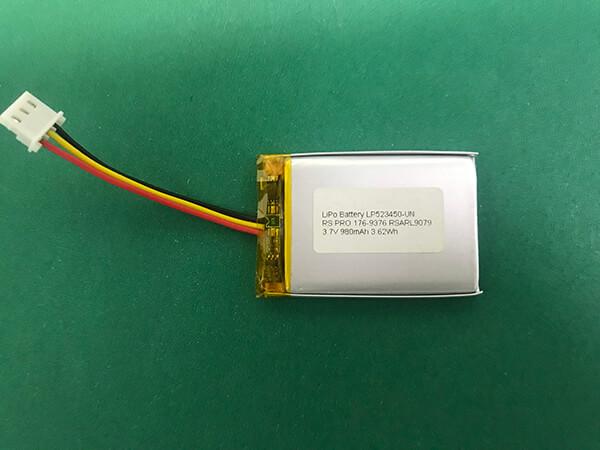 3.7V Lithium Polymer Battery LP523450 980mAh