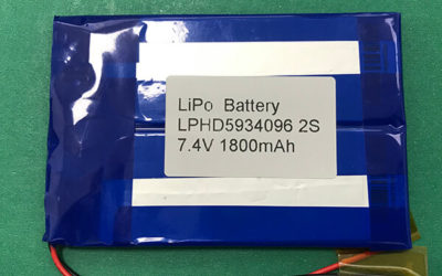 High Rate Discharge Lithium Polymer Battery 2S LPHD5934096 1800mAh 3.7V