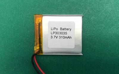 LP303035 3.7V Lithium Polymer Battery 310mAh 1.147Wh