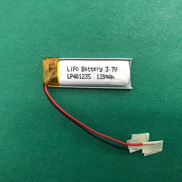 Small 3.7V Lithium Polymer Battery LP401235 120mAh 0.44wh