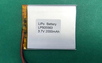 2000mAh Lithium Polymer Battery LP505563 3.7V 7.4Wh