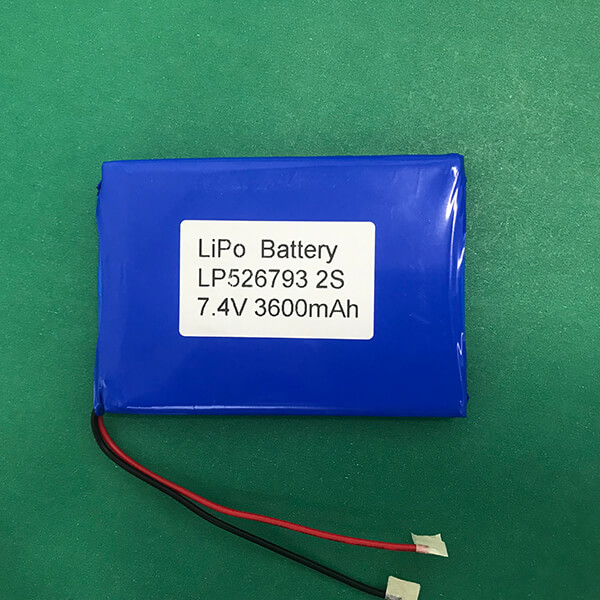 High Capacity LP526793 2S 7.4V Lithium Polymer Battery 3600mAh 26.64Wh