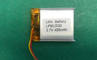 400mAh Lithium Polymer Battery 3.7V LP602530 1.48Wh