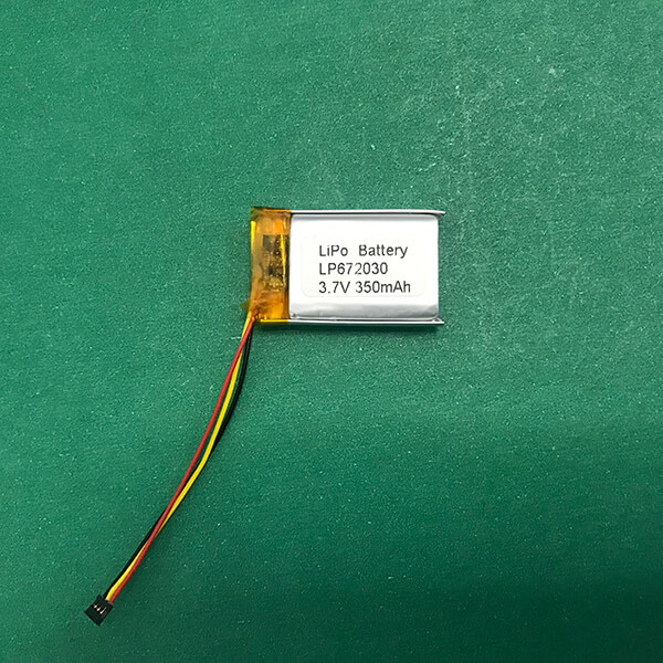 Small 3.7V Lithium Polymer Battery LP672030 350mAh 1.296Wh