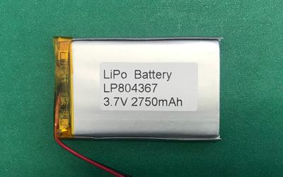 3.7V Lithium Polymer Battery LP804367 2750mAh 10.18Wh