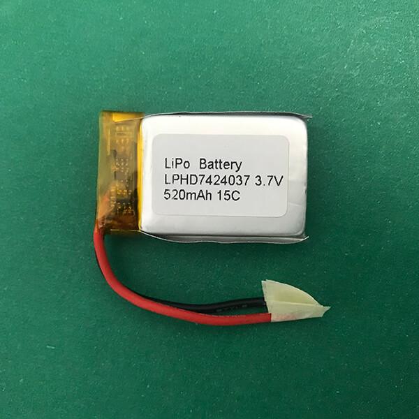 15C High Rate Lithium Polymer Battery 3.7V LPHD7424037 520mAh