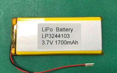 3.7V Long Lithium Polymer Battery LP3244103 1700mAh 6.29Wh