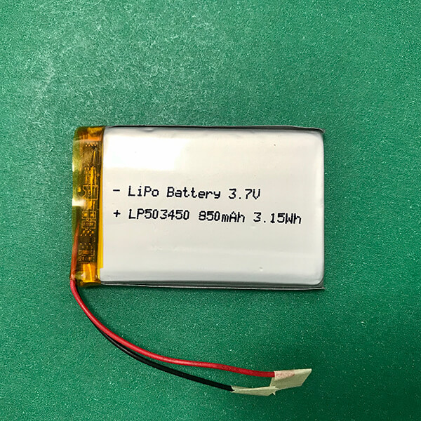 3.7V Rechargeable Lithium Polymer Battery LP503450 850mAh 3.145Wh