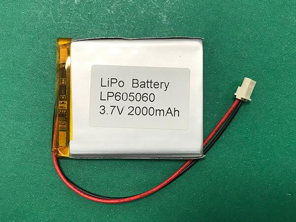 2000mAh Square Lithium Polymer Battery 3.7V LP605060 7.4Wh