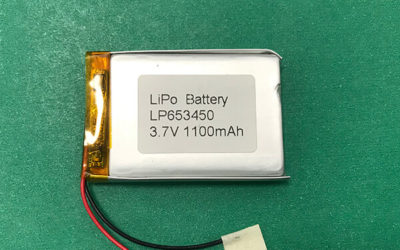 Custom Lithium Polymer Battery 3.7V LP653450 1100mAh 4.07Wh