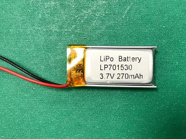 Rectangular Lithium Polymer Battery 3.7V LP701530 270mAh 0.999Wh