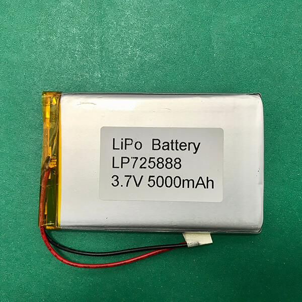 Custom Lithium Polymer Battery 3.7V LP725888 5000mAh 18.5Wh