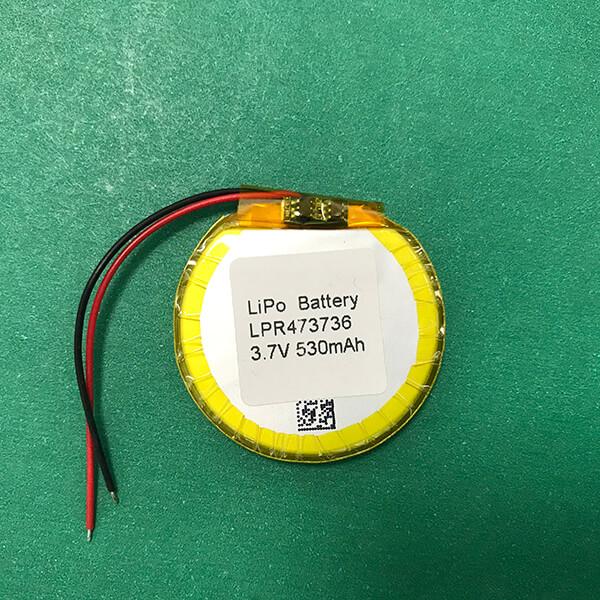 Special Shape Round Lithium Polymer Battery 3.7V LPR473736 530mAh