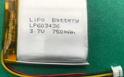 Custom 3.7V Lithium Polymer Battery LP603436 750mAh 2.775Wh