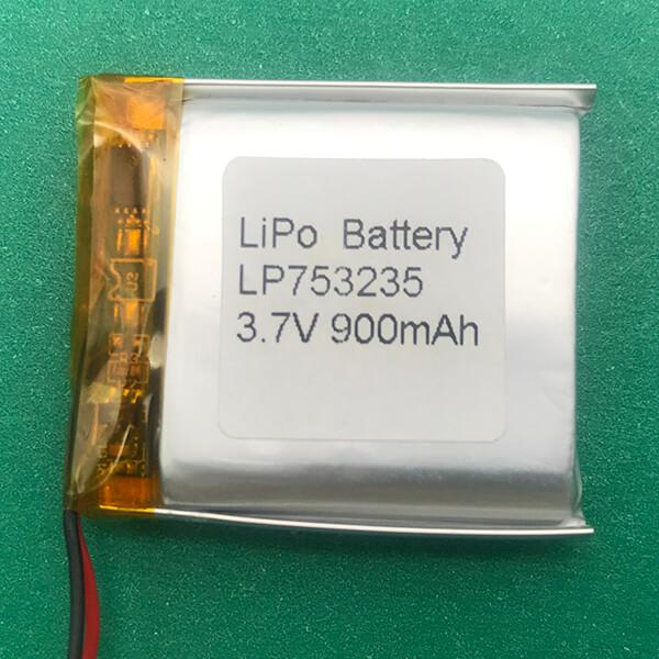 Rectangle Lithium Polymer Battery 3.7V LP753235 900mAh 3.33Wh
