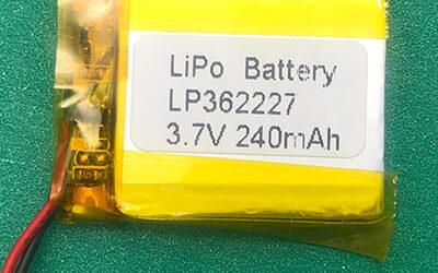 3.7V Quadrate LP362227 Lithium Polymer Battery 240mAH