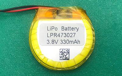 Round Lithium Polymer Battery 3.8V LPR473027 330mAh