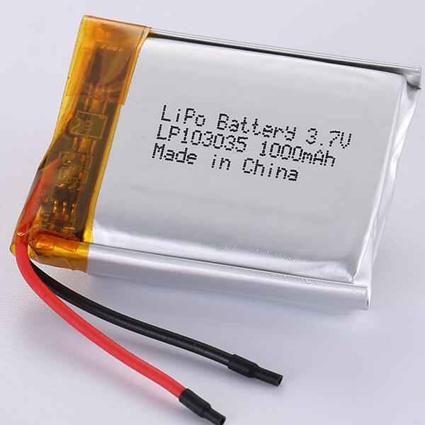 LP103035 3.7V Lithium Polymer Battery 1000mAh 3.7Wh