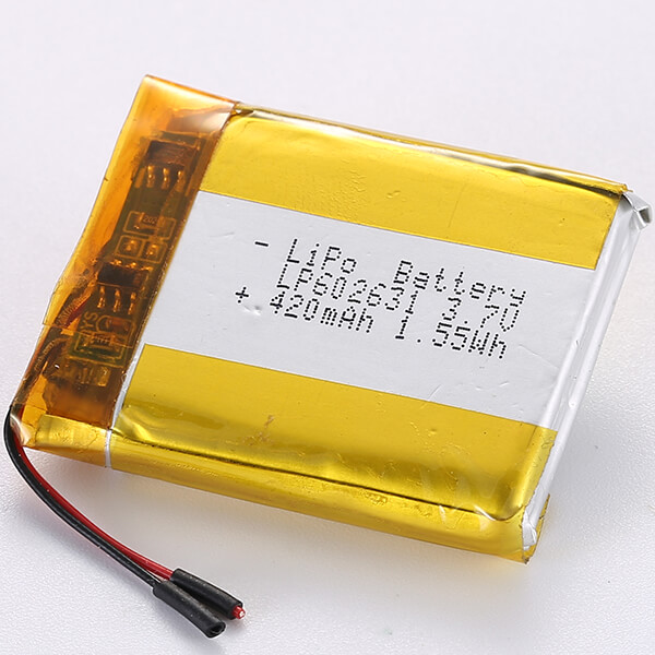 420mAh LP602631 3.7V Lithium Polymer Battery 1.55Wh For Sales