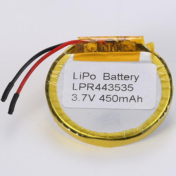 Round Lithium Polymer Battery 3.7V LPR443535 450mAH