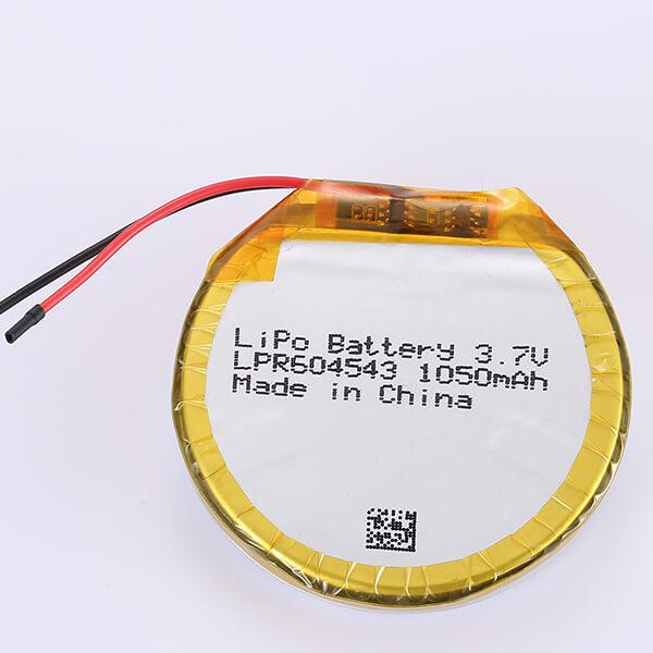 3.7V Round Lithium Polymer Battery LPR604543 1050mAh