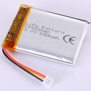 650mAh Lithium Polymer Battery LP553040 3.7V